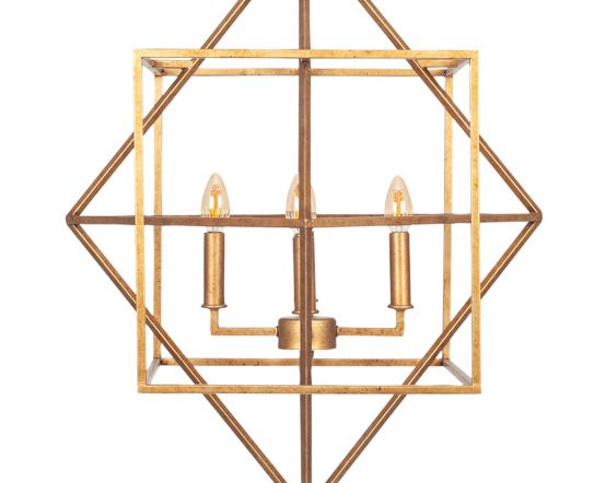 Diamond Shaped Antique Gold Metal Multi Arm Cube Pendant