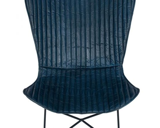 Esther Quilted Prussian Blue Leather and Iron Butterfly Chair