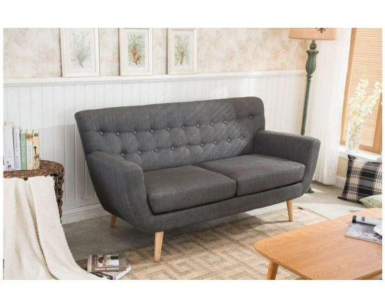 Fabric Scandinavian Style 3 Seater Sofa Grey