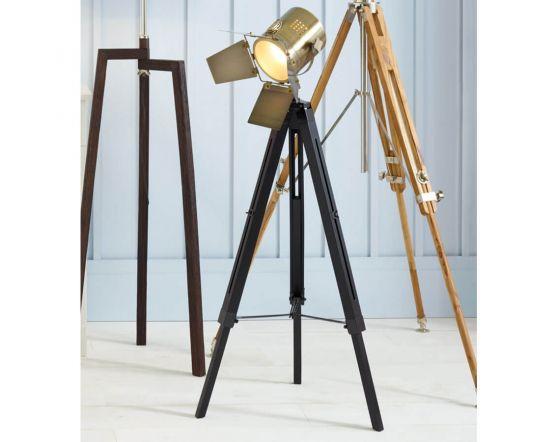 Film Style Black & Antique Brass Tripod Floor Lamp