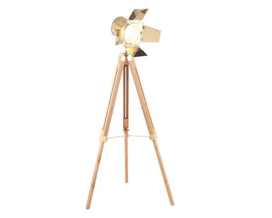Film Style Gold Metal and Natural Wood Tripod Floor Lamp