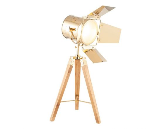 Film Style Gold Metal and Natural Wood Tripod Table Lamp