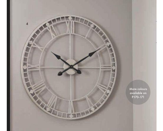 Flo Antique Silver Metal Round Wall Clock