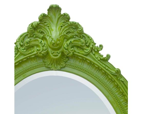 French Antique Green Leaf Oval Wall Mirror
