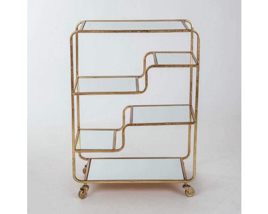 Gin Shu Gold Metal 2 Shelf Serving Trolley