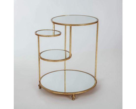 Gin Shu Gold Metal 4 Mini Shelf Round Side Table