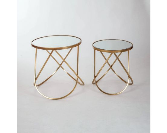 Gin Shu Gold Metal Set of 2 Round Tables