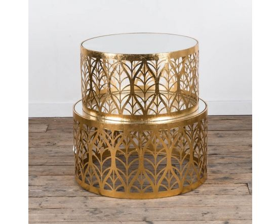Gin Shu Gold Set of Large and Small Coffee Tables