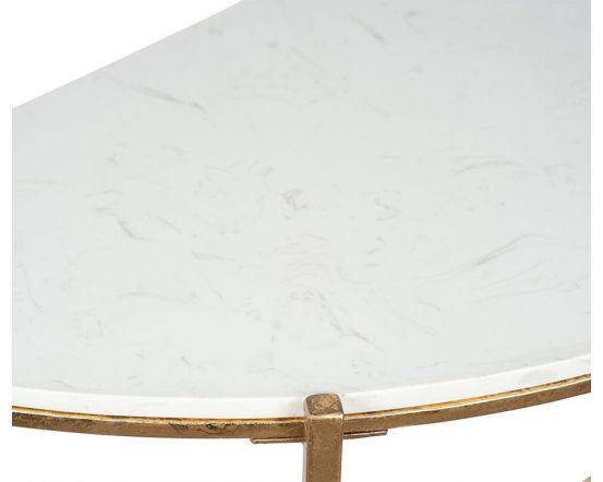 Giulia Antique Gold Metal Half Moon Console Table