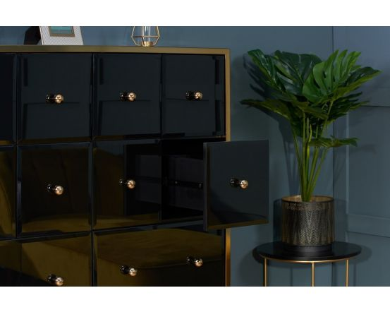 Glamour Black Glass and Gold Merchant Chest