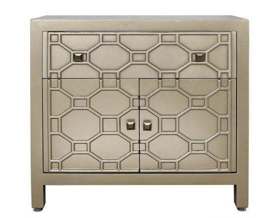 Gold Geometric Wood 1 Drawer 2 Door Cabinet Sideboard