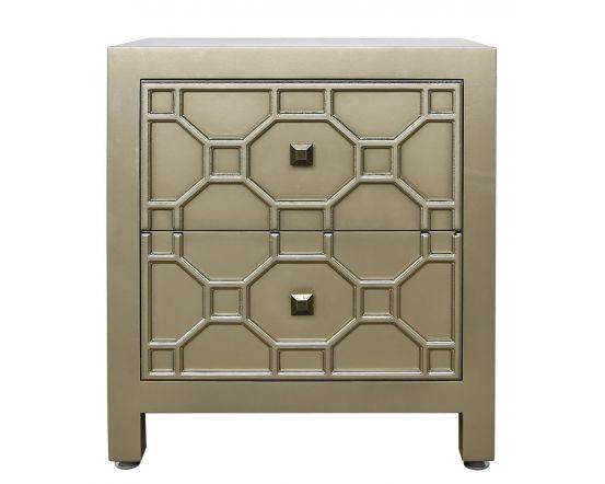 Gold Geometric Wood 2 Drawer Bedside Side Cabinet