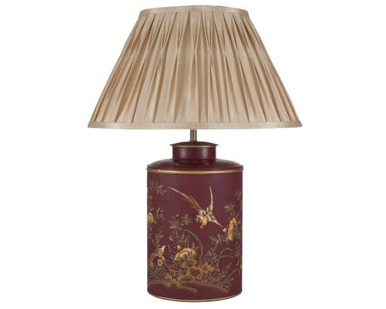 Gold Bird Hand Painted Red Metal Table Lamp - Base Only