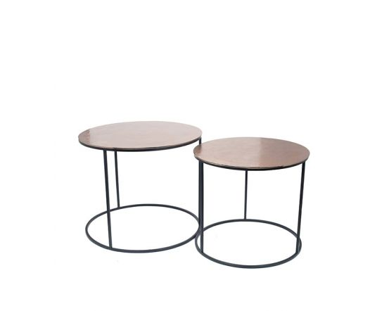 Gold Finished Aluminium Set of 2 Large Tables with Iron