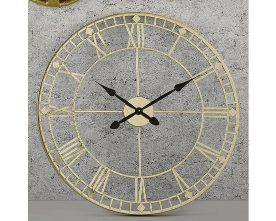 Gold and Black Hands Metal Wall Clock