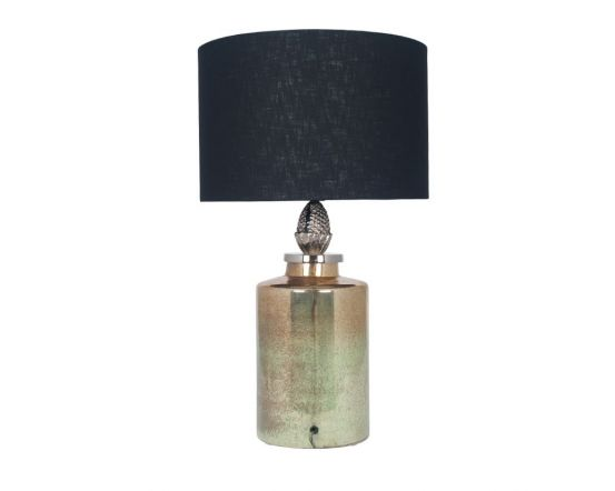 Green Glass Oval Table Lamp with Metal Detail - Base Only