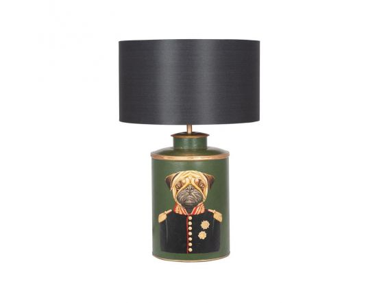 Green Hand Painted Pug Dog Motif Table Lamp - Base Only