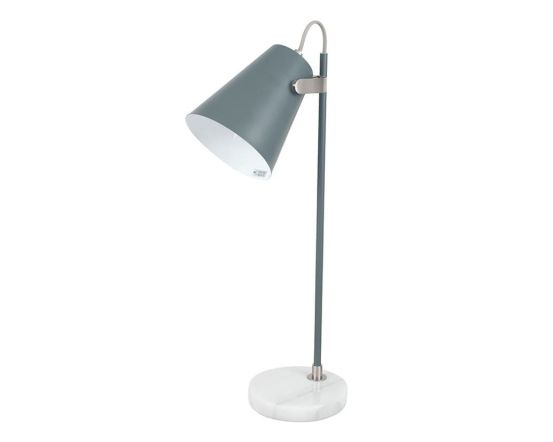 Grey and Satin Nickel Task Table Lamp with Marble Base