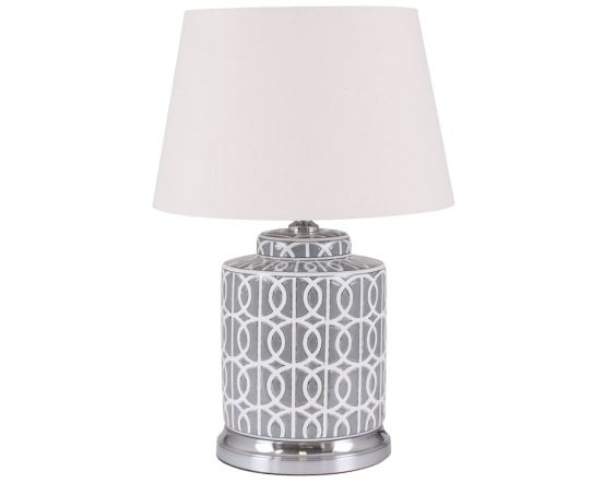 Grey and White Geometric Pattern Table Lamp