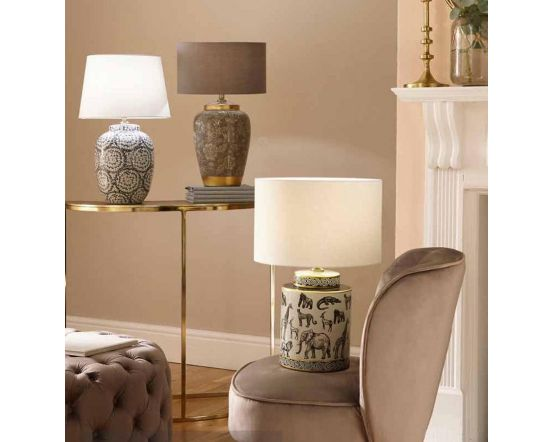 Grey Flower With Gold Metal Ceramic Table Lamp - Base Only