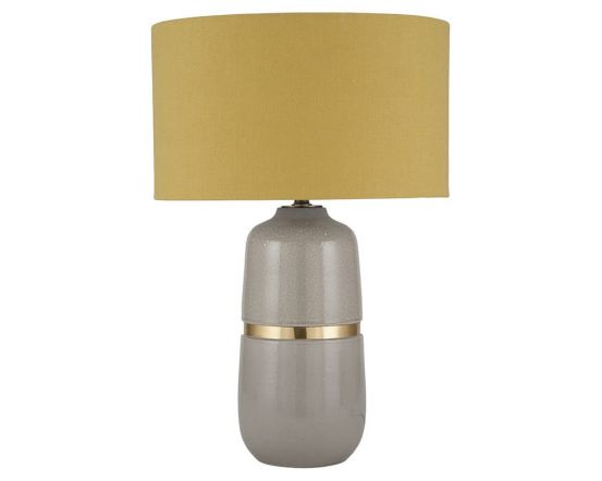 Grey Glaze Ceramic with Gold Metal Table Lamp - Base Only