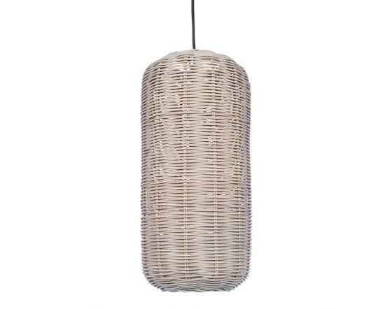 Grey Wash Woven Rattan Capsule Pendant