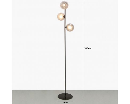 Gunmetal Floor Lamp With 3 Smoked Glass Shades