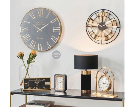 Haigh and Co Antique Brass & Black Metal Oblong Desk Clock