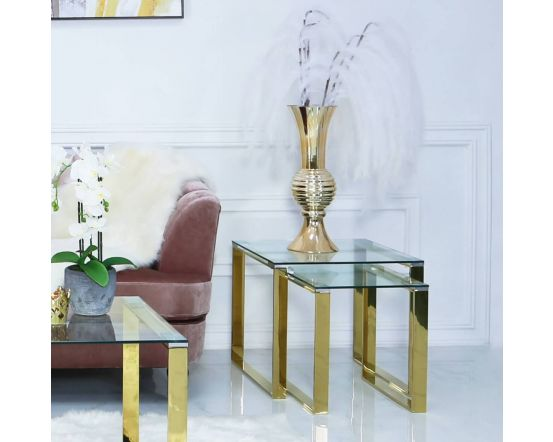 Harvey Gold Steel And Clear Glass Nest Of 2 Side Tables