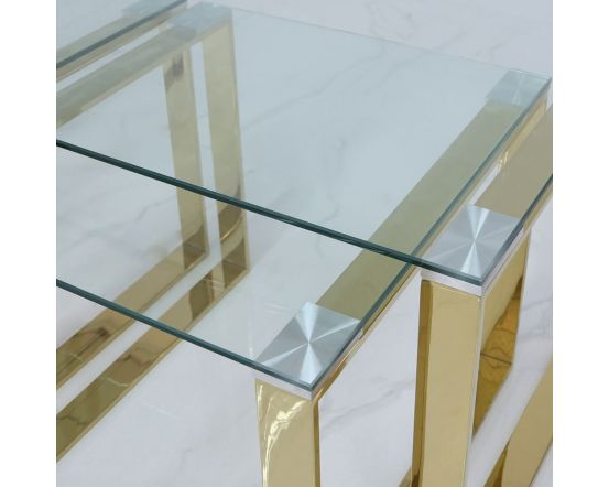 Harvey Gold Steel And Clear Glass Nest of Tables