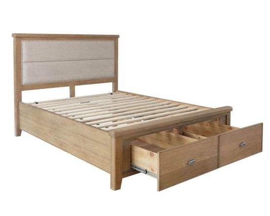 Hodson Bed Frame Fabric Headboard with Drawer Footboard