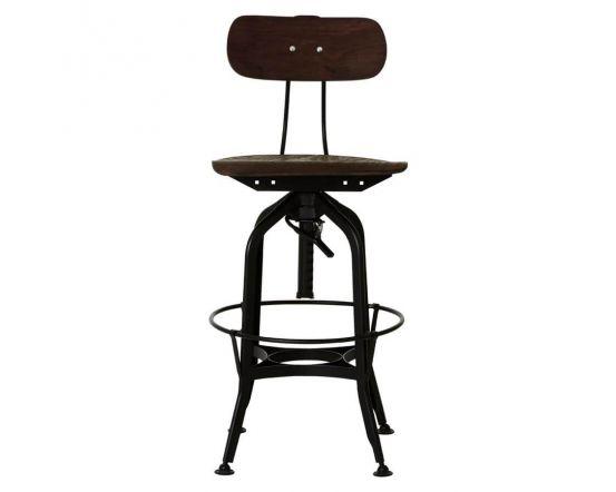 Industrial Foundry Walnut Metal Bar Chair