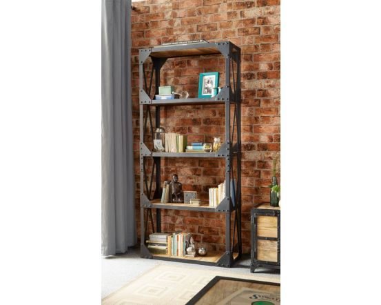 Industrial Solid Wood Bookcase