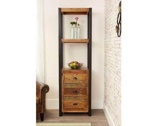 Industrial Reclaimed Narrow Bookcase