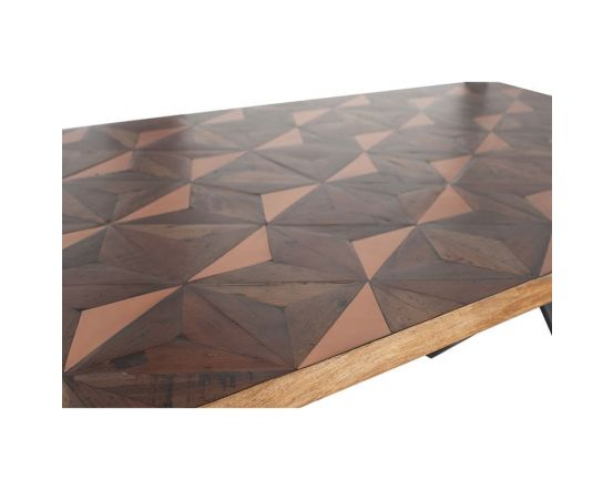 Industrial Recycled Wood & Copper Metal Mix Dining Table