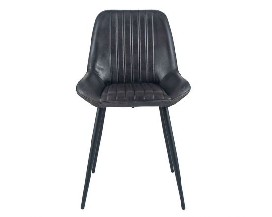 Industrial Steel Grey Leather Dining Chair