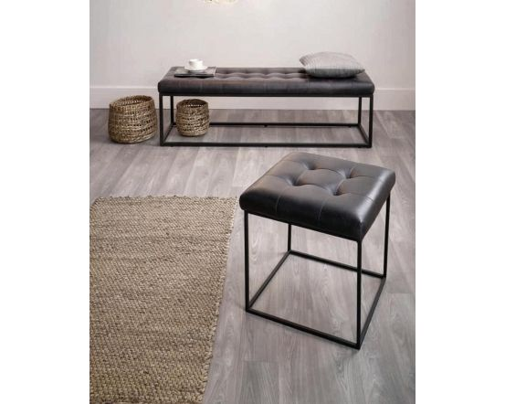 Industrial Steel Grey Leather & Iron Bench