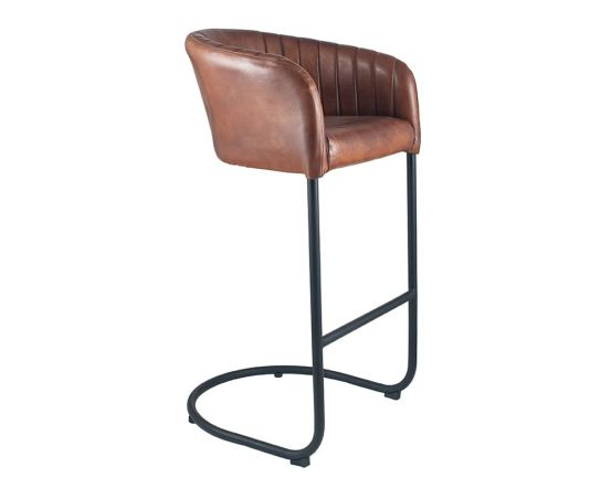 Industrial Vintage Brown Leather and Iron Curved Back Bar Chair