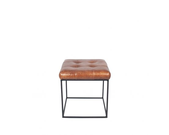 Industrial Vintage Brown Leather & Iron Buttoned Stool