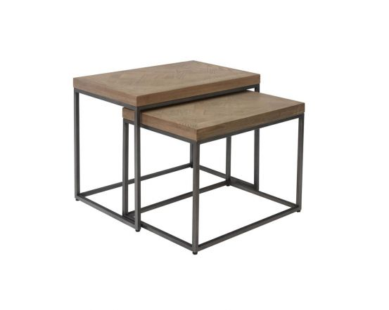 Irina Aged Grey Nest of 2 Tables