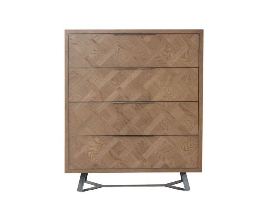 Irina Brown and Grey Patterned 4 Drawer Chest