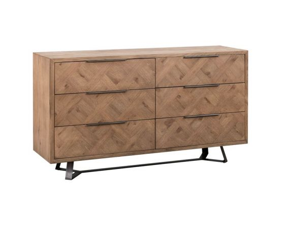 Irina Brown and Grey Patterned 6 Drawer Chest