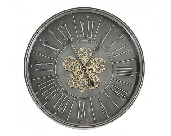 Isobel Round 60cm Dark Grey Wall Clock With Gears Design
