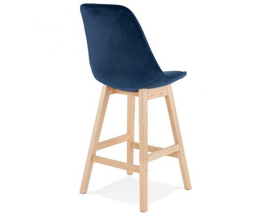 Katharina Blue Velour and Wood Bar Chair