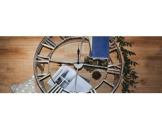 Kline Antique Silver Finish Clock Side Table