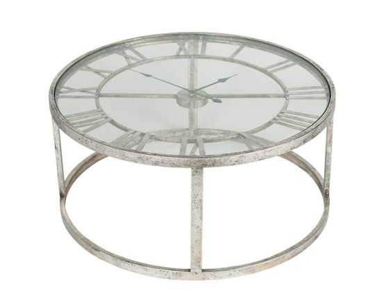 Kline Antique Silver Finish Clock Coffee Table