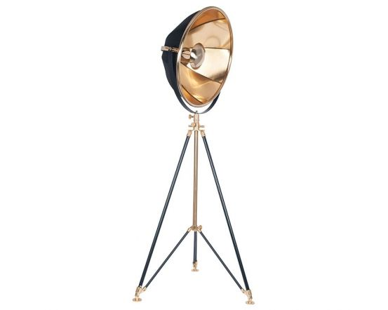 Large Black and Gold Metal Detailed Designer Tripod Floor Lamp