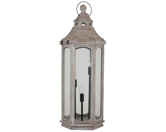 Large Industrial 3 Light Antique Wood Grey Floor Lamp Lantern