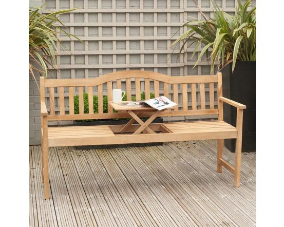 Light Teak Acacia Wood Bench with Pop Up Table
