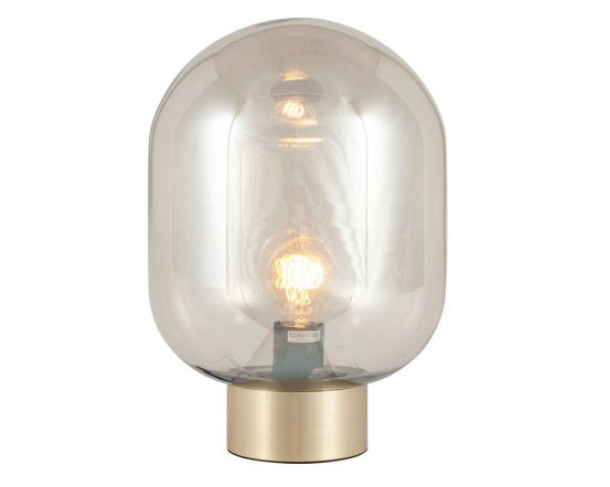 Lustre Oval Glass Ball and Gold Table Lamp